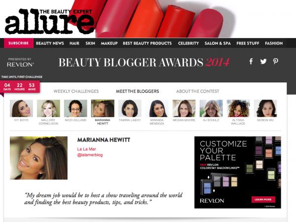 marianna hewitt bio allure beauty blogger awards