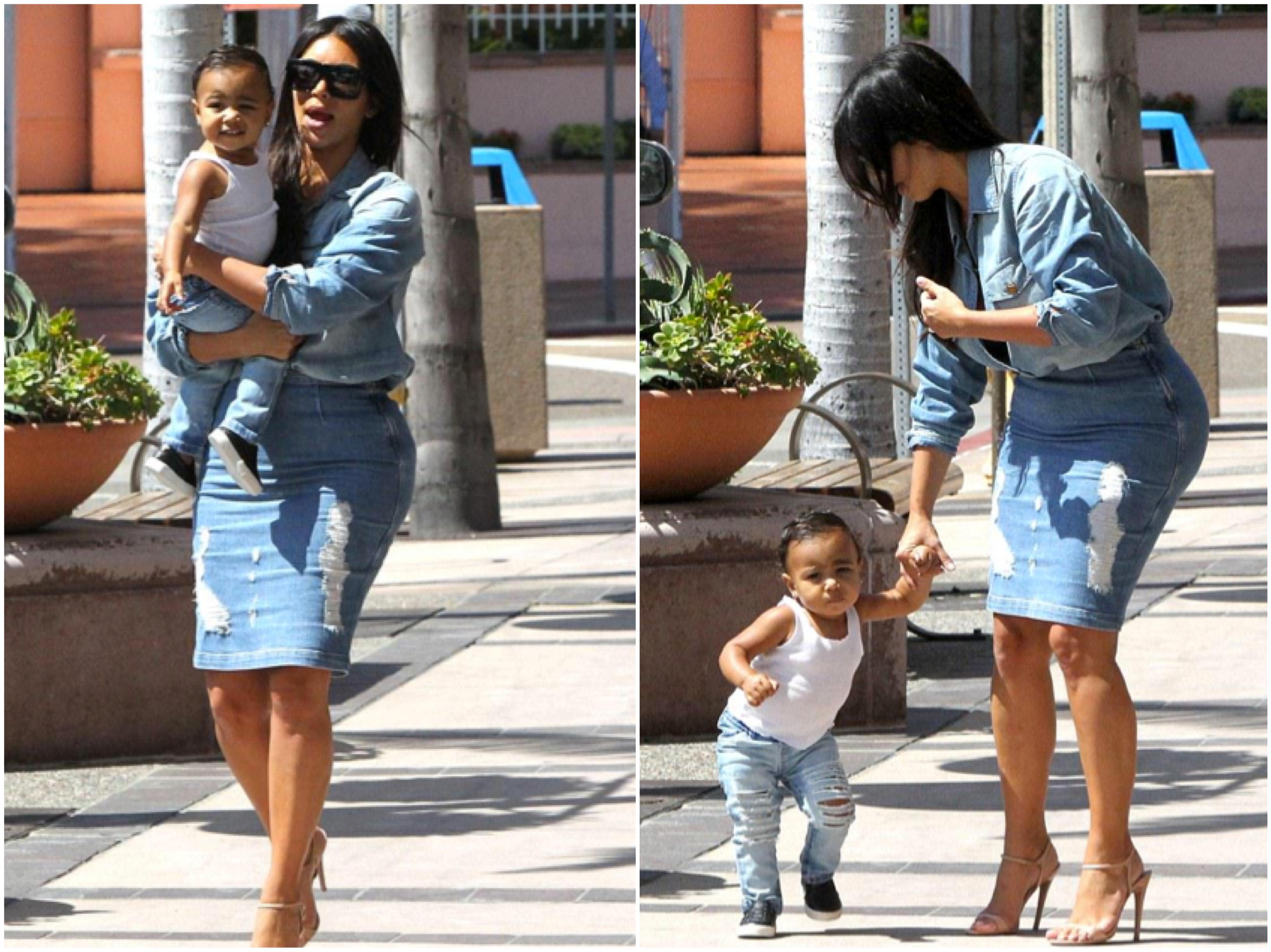 Kim Kardashian North West Walking Photos Denim Skirt Shirt Prada Current Elliot Frame Marianna Hewitt Blog